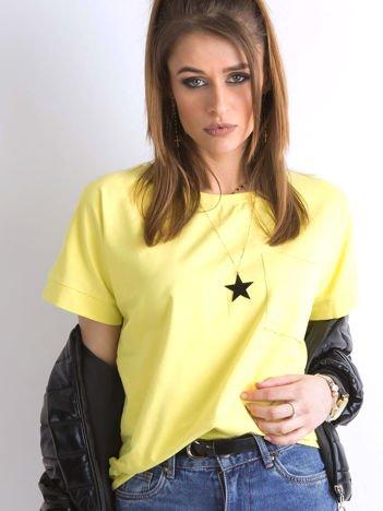 Limonkowa bluzka oversize z kieszonką