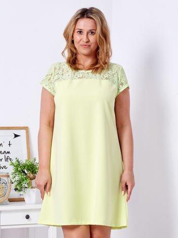Limonkowa trapezowa sukienka z koronkową górą PLUS SIZE