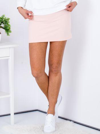 Łososiowa dresowa spódnica mini