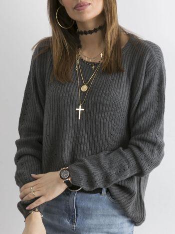 Luźny sweter damski grafitowy