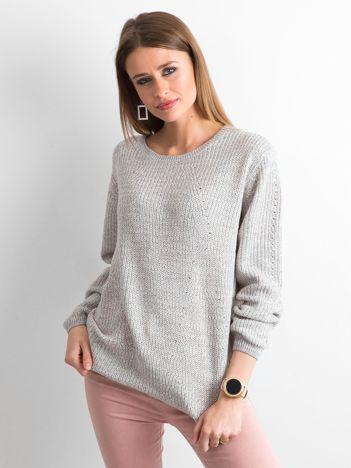 Luźny sweter damski szary