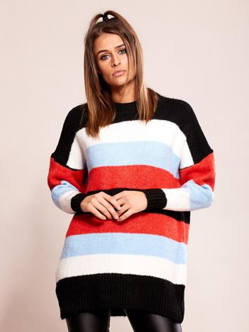 Luźny sweter w pasy czarny