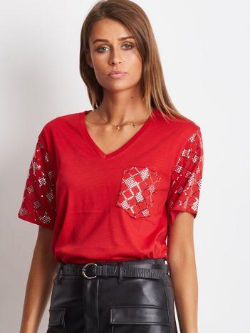 Luźny t-shirt V-neck z cekinami czerwony