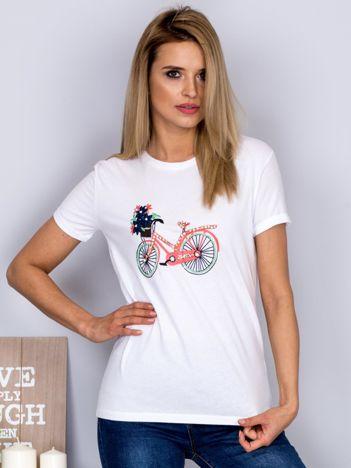 Luźny t-shirt z haftowaną aplikacją roweru biały