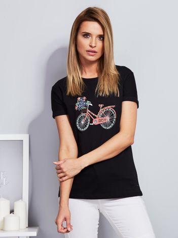 Luźny t-shirt z haftowaną aplikacją roweru czarny