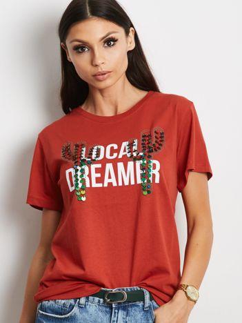 Luźny t-shirt z kaktusami z cekinów ciemnopomarańczowy