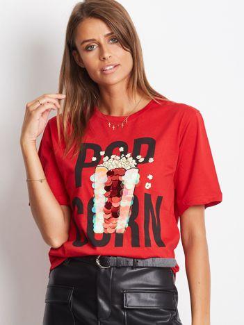 Luźny t-shirt z nadrukiem popcornu z cekinami czerwony