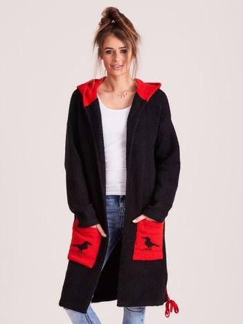MAGPIE Czarny sweter z kieszeniami