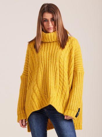 MAGPIE Luźny żółty sweter z golfem