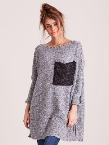 MAGPIE Szary sweter oversize z kieszenią
