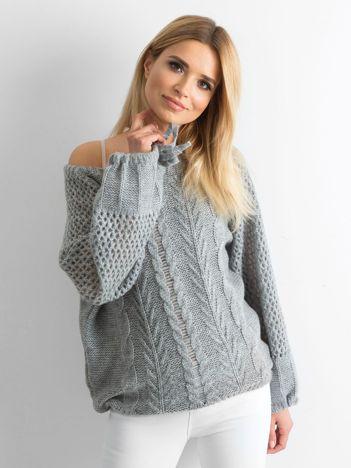 MAGPIE Szary sweter w warkocze