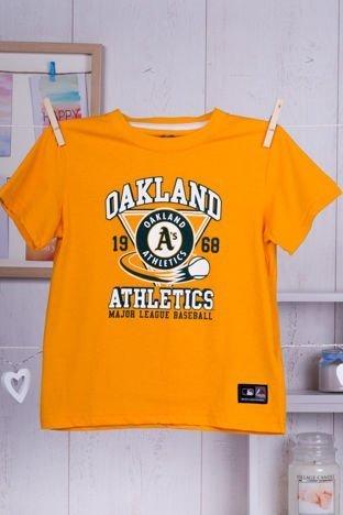 MAJESTIC ATHLETIC Żółty t-shirt dziecięcy z baseballowym nadrukiem