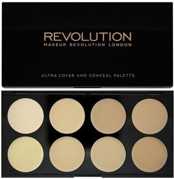 MAKEUP REVOLUTION Paleta 8 kremowych korektorów Ultra Professional Cover & Concealer Palette Light 10g