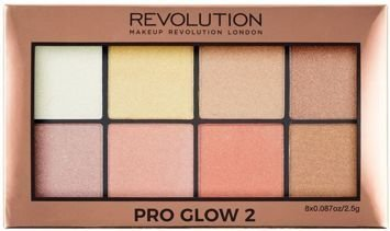 MAKEUP REVOLUTION Paletka 8 rozświetlaczy i bronzerów Pro Glow 2 Palette 8 x 2,5g
