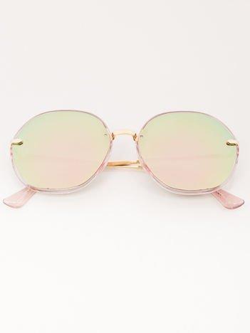 MANINA Okulary przeciwsłoneczne damskie złote szkło różowo-zielone lustrzanka