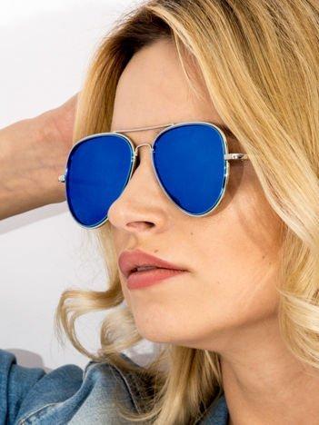 MANNINA Okulary lustrzanki przeciwsłoneczne + miękkie etui gratis