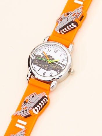 MILITARY Pomarańczowy Dziecięcy Zegarek Czołgi