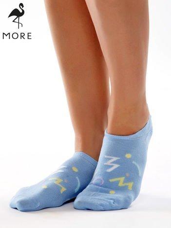 MORE Niebieskie krótkie stopki w kolorowe wzorki