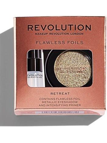 Makeup Revolution Flawless Foils Cień do powiek metaliczny + baza Retreat