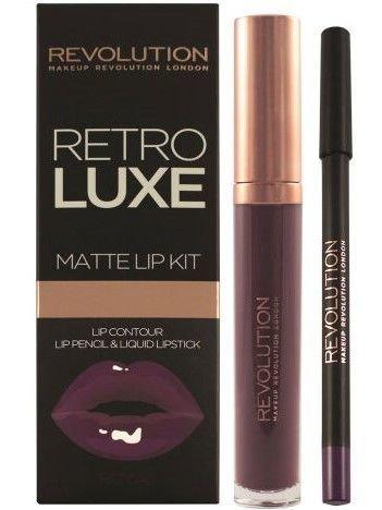 Makeup Revolution Retro Luxe Gloss Lip Kit Zestaw do ust konturówka 1g + matowa pomadka w płynie 5,5ml Royal