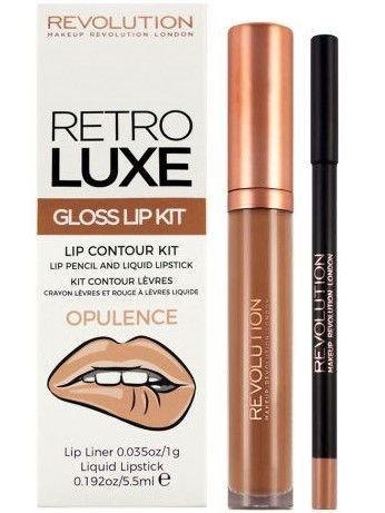 Makeup Revolution Retro Luxe Gloss Lip Kit Zestaw do ust konturówka 1g + pomadka w płynie 5,5ml Opulence
