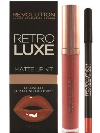 Makeup Revolution Retro Luxe Matte Lip Kit Zestaw do ust konturówka 1g + matowa pomadka w płynie 5,5ml Regal