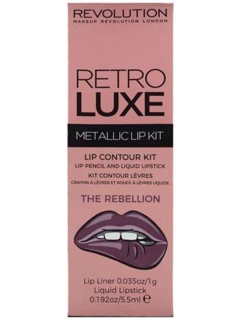 Makeup Revolution Retro Luxe Metallic Lip Kit Zestaw do ust konturówka 1g + pomadka w płynie 5,5ml The Rebellion