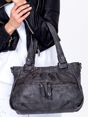 Mała ciemnoszara torebka na ramię z suwakami