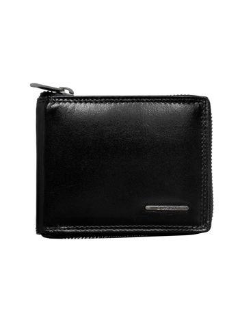 Mały skórzany portfel męski na suwak