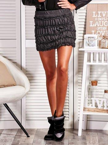 Marszczona mini spódnica ciemnoszara