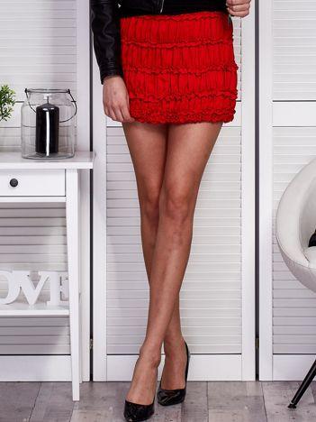Marszczona mini spódnica czerwona