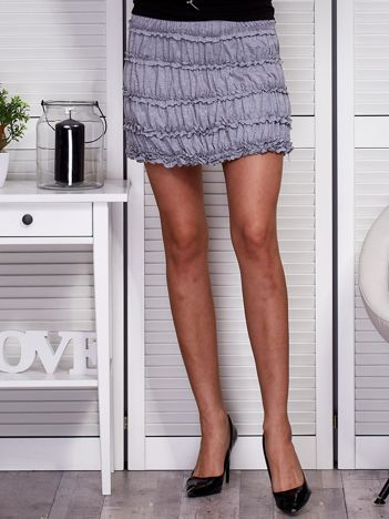 Marszczona mini spódnica jasnoszara
