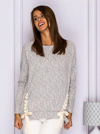 Melanżowa bluza z dołem lace up szara