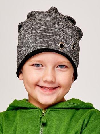 Melanżowa czapka chłopięca z nitami grafitowo-czarna