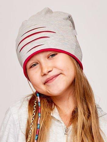 Melanżowa czapka dziewczęca cut out szara