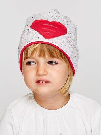 Melanżowa czapka dziewczęca z naszytym sercem szaro-koralowa