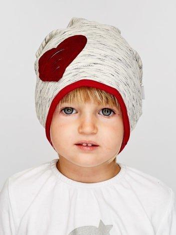 Melanżowa czapka dziewczęca z naszywką serca szaro-bordowa