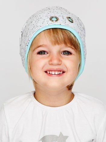 Melanżowa czapka dziewczęca z ozdobnymi nitami szaro-miętowa