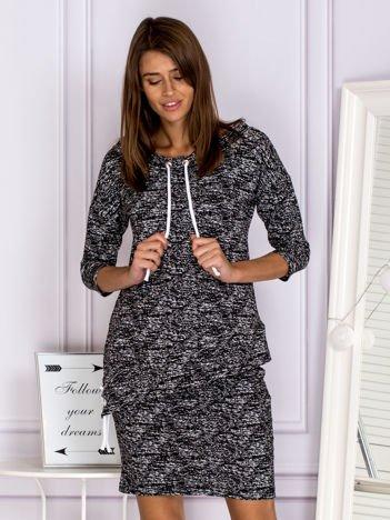 Melanżowy komplet z asymetryczną bluzą i spódnicą czarny