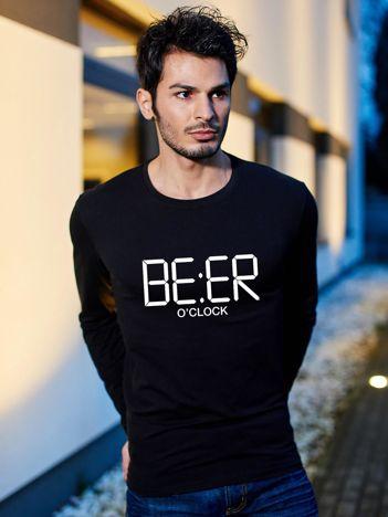 Męski czarny longsleeve dla piwosza BEER O'CLOCK