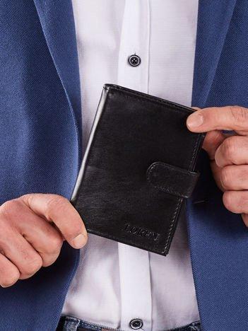 Męski czarny portfel ze skóry naturalnej