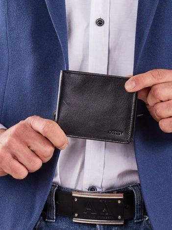 Męski poziomy portfel ze skóry czarny