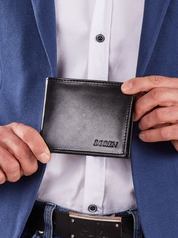 Męski poziomy skórzany portfel czarny