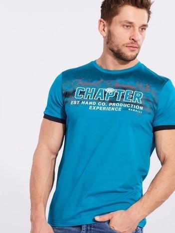 Męski t-shirt bawełniany morski