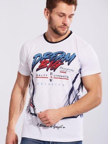 Męski t-shirt z bawełny biały