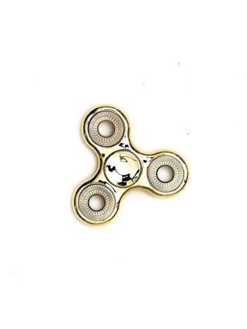 Metalowy złoty fidget spinner z ozdobnymi kółkami