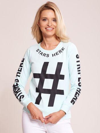 Miętowa bawełniana bluza z nadrukiem hashtaga