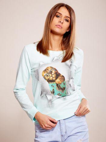 Miętowa bawełniana bluza z nadrukiem kota