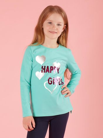 Miętowa bawełniana bluzka dla dziewczynki