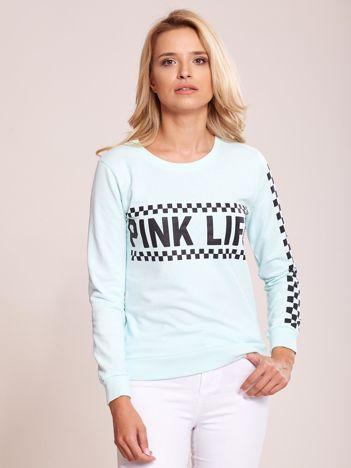 Miętowa bluza bawełniana z nadrukiem PINK LIFE